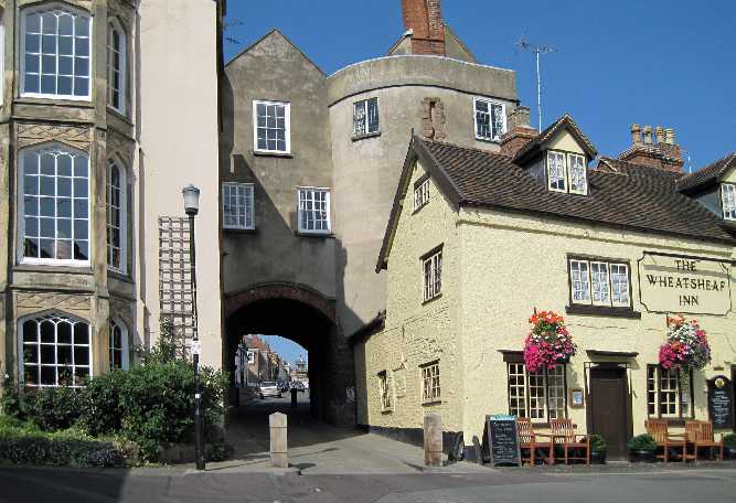 The Broad Gate, c1270 and the Wheatsheaf inn, 1688